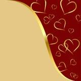 Rouge foncé et fond d'or avec des coeurs photo stock
