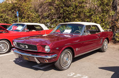 Rouge Ford Mustang 1966 Photos libres de droits
