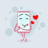 Rouge futé d'amour de personnage de dessin animé de rose de téléphone portable Photographie stock libre de droits