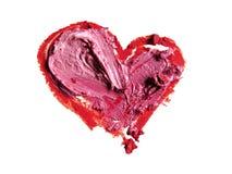 Rouge heurté en forme de coeur Photographie stock