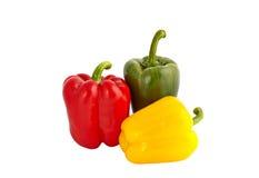 Rouge, jaune et poivrons verts Images libres de droits
