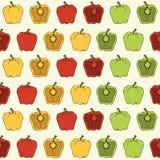 Rouge, jaune, le modèle sans couture végétal de poivron vert sur le fond clair - dirigez l'illustration Images libres de droits