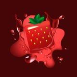 Rouge liquide de calibre d'éclaboussure de vecteur avec la fraise en forme de boîte Images stock