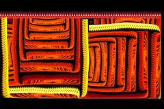Rouge lumineux de fractale carrée abstraite sur le noir Image stock