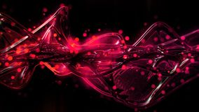 Rouge lumineux futuriste de résumé et vagues en verre fondues et ondulation roses illustration libre de droits