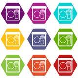 Rouge met de vastgestelde kleur van het borstelpictogram hexahedron Stock Afbeeldingen