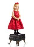 rouge mignon de fille de robe images stock