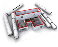 Rouge modèle architectural de conception illustration libre de droits