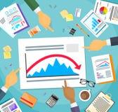 Rouge négatif de graphique de crise de finances d'exposition d'hommes d'affaires illustration stock