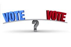 Rouge ou bleu de vote ? Photographie stock