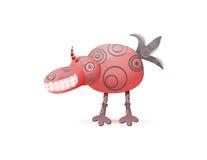 Rouge riant le monstre mignon avec le klaxon Photographie stock