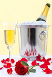 Rouge rose et champagne Photo libre de droits