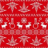 Rouge sans couture de fond de vecteur de mauvaise herbe de Noël d'art de pixel Image stock