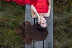 Rouge sur le vert photographie stock