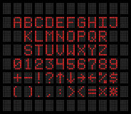 Rouge sur les polices numériques grises alphabet et nombres du fond une LED Photos stock