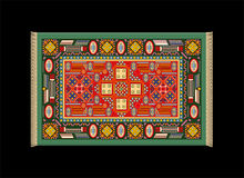 Rouge vert de tapis Images libres de droits