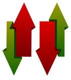 Rouge vert en bas des icônes de flèche Flèches verticales dans le dir opposé Images libres de droits