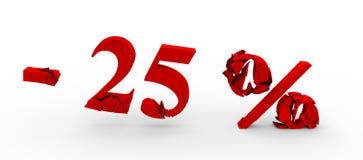 Rouge vingt-cinq pour cent  Remise 25% illustration 3D Photo stock