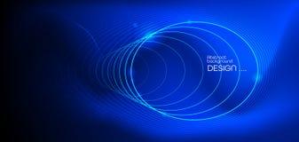 Rougeoyer abstrait d'illustration, effet de lampe au n?on, ligne de vague, profil onduleux Techno de communication de conception  illustration de vecteur