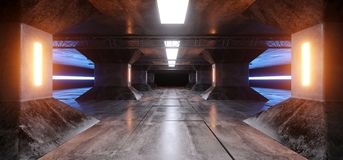Rougeoyer au néon bleu blanc jaune orange moderne de bateau de Sci fi de colonnes de vaisseau spatial réfléchi concret grunge étr illustration de vecteur