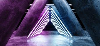 Rougeoyer au néon de pourpre vibrant de Sci formé par triangle vide foncée fi de colonnes de Hall Underground Cement Grunge Co illustration libre de droits