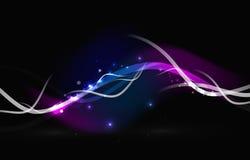 Rougeoyer coulant ondule et se tient le premier rôle dans l'espace foncé illustration de vecteur