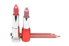 Rouges à lèvres et crayons cosmétiques Photographie stock libre de droits