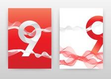 9 rouges que le nombre avec le remous rouge a ondulé des lignes conçoivent pour le rapport annuel, brochure, insecte, affiche Lig illustration de vecteur