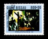 Rouget de Lisle, welches das Marseillaise, Isidore Pils, Stempel singt Lizenzfreies Stockbild