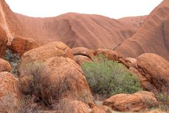 Landscape with rough rocks and details of Uluru Ayers Rock, Australasian Royalty Free Stock Image