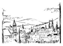 Rough black and white sketch of small ancient Georgian town, buildings   Royalty Free Stock Images