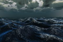 Rough blue ocean under dark sky Royalty Free Stock Image