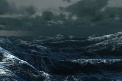 Rough blue ocean under dark sky Stock Photography