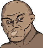 Rough Boxer. Caricature of a fighter with damaged face and cauliflower ears Stock Photos