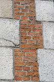Rough brick and stone wall. With an irregular pattern Stock Image