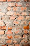 Rough Brick Wall full frame. Red brick wall closeup background. Detail of the brick walls of the old Royalty Free Stock Image