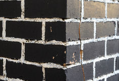 Rough brick wall. Painted in black with painting seams in white. Abstract background Stock Images