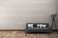 rough brick wall with sofa Royalty Free Stock Photo