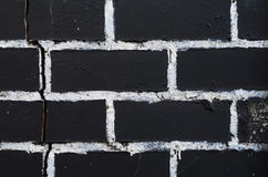 Rough brick wall texture. Painted in black with painting seams in white. Brickwork texture Royalty Free Stock Image