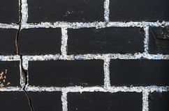 Rough brick wall texture. Painted in black with painting seams in white. Brickwork texture Stock Image