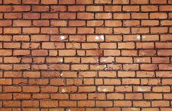 Rough brown brick wall background texture. Rough brown and orange brick wall background texture close up, side view Royalty Free Stock Images