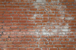 Rough brown brick wall background texture. Rough red brown brick wall background texture with white paint stains close up, side view Stock Photography