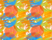 Rough brush blue and orange circles Royalty Free Stock Image