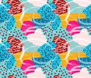 Rough brush dotted and striped bright color spots Stock Photo