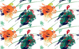 Rough brush green and orange paint strokes Royalty Free Stock Photography