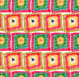 Rough brush green red pink squares in row Royalty Free Stock Photo