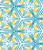 Rough brush green triangles and yellow circles. Abstract colorful seamless background. Stained and grunted texture over hand drawn paint brush ornament Stock Photography