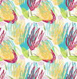 Rough brush green and yellow floral. Abstract colorful seamless background. Stained and grunted texture over hand drawn paint brush ornament Royalty Free Stock Photos