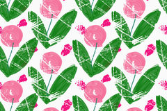 Rough brush pink roses with green leaves. Abstract colorful seamless background. Stained and grunted texture over hand drawn paint brush ornament Royalty Free Stock Photo