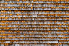 Free Rough Bumpy Wood Shingles Cladding, Row Of Wooden Material Of Small Shingles Wall Facade, Abstract Wooden Texture Royalty Free Stock Images - 161824889